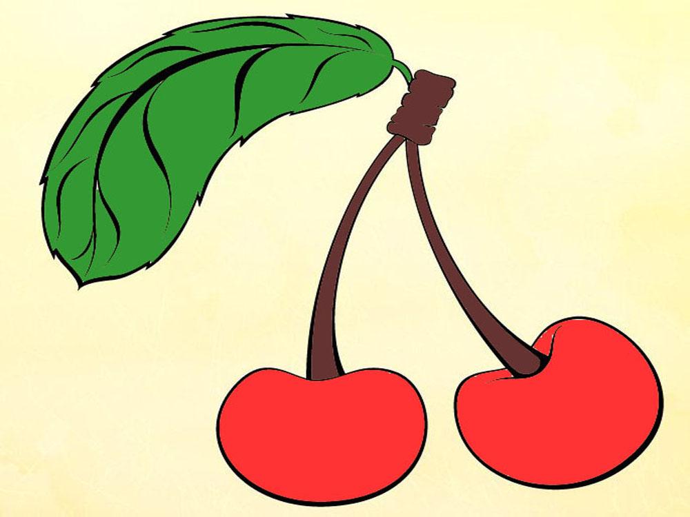 Раскраски-Овощи, фрукты, ягоды-Вишня