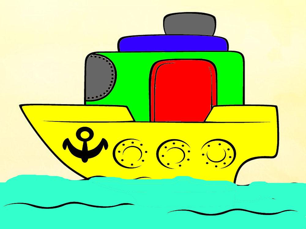 кораблик разное раскраски